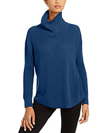 Ribbed Cowl-Neck Sweater