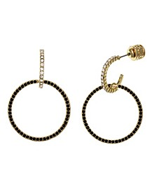Black Tone Post Ring Drop Earrings