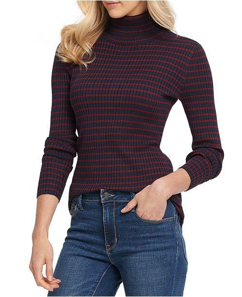 DKNY Striped Turtleneck Sweater