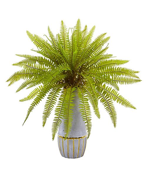 """Nearly Natural 18"""" Fern Grass Artificial Plant in Stoneware Planter"""