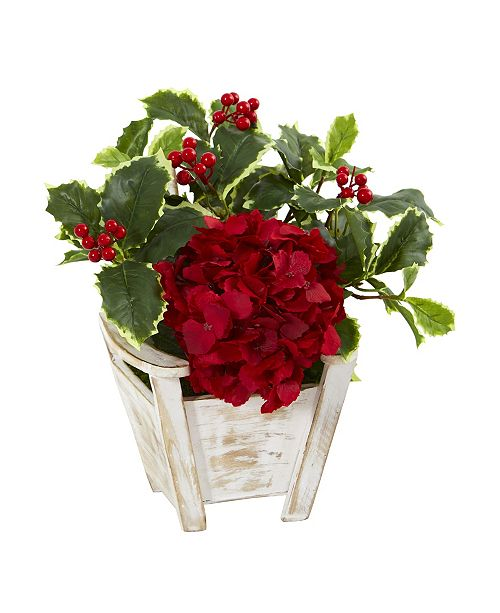 Nearly Natural Hydrangea and Holly Leaf Artificial Arrangement in Chair Planter