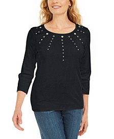 Cotton Grommet-Embellished Top, Created For Macy's