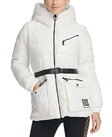 Sport Belted Hooded Puffer Jacket