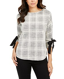 Petite Plaid Tie-Cuff Top, Created For Macy's
