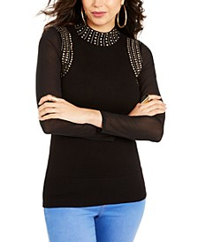 Studded Mesh-Sleeve Sweater, Created For Macy's