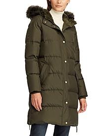 Faux-Fur Trim Hooded Puffer Coat