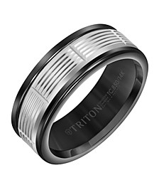 8MM Black Tungsten Carbide Ring with 14K White Gold Serrated Vertical Cut Insert