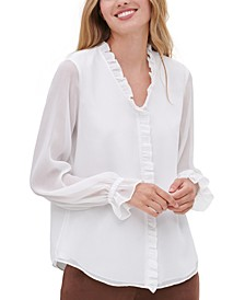 Ruffled Woven Poet Button-Up Blouse