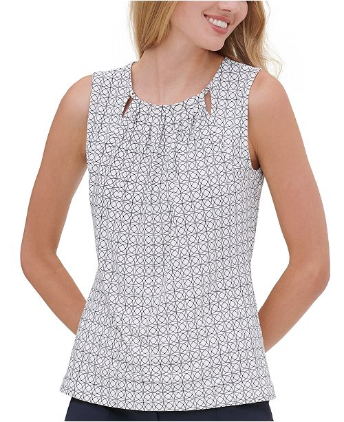 Tommy Hilfiger Sleeveless Printed Cutout Blouse