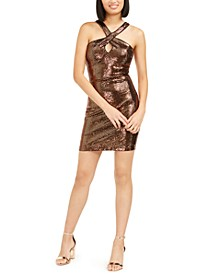 Sequined Halter Sheath Dress