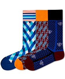 3 Pack Men's Organic Cotton Funky Patterned Socks Bundle