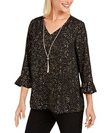 Foil-Print Necklace Top, Created For Macy's
