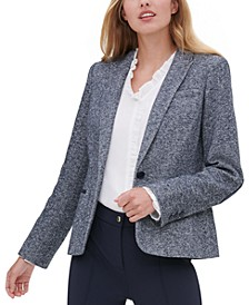 Marled Single-Button Blazer