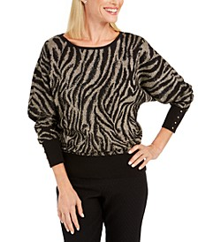 Petite Zebra-Print Jacquard Sweater, Created For Macy's