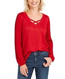 Lurex Lattice-Neck Blouse, Created For Macy's