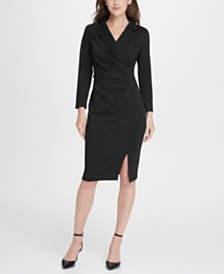 DKNY Ponte Collared Side Ruche Sheath Dress