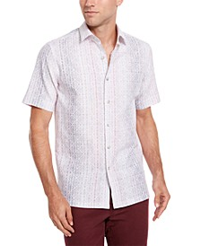 Men's Geo-Print Stripe Linen Shirt, Created For Macy's