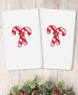 Christmas Candy Canes Embroidered 100% Turkish Cotton Hand Towel