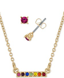 "Gold-Tone Rainbow Crystal Stud Earrings & Bar Pendant Necklace Gift Set, 16"" + 2"" extender"