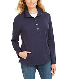 Sport Mock-Neck Vented-Hem Top, Created for Macy's