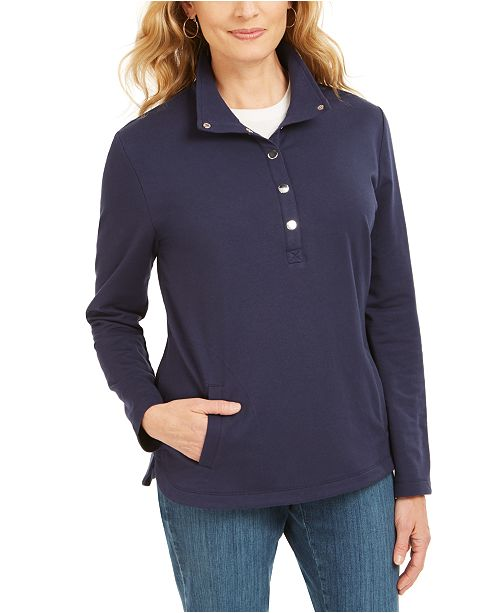 Karen Scott Sport Mock-Neck Vented-Hem Top, Created For Macy's