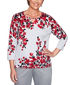Petite Cotton Falling Flowers Well Red Sweater