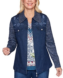 Autumn Harvest Embroidered Knit Sleeve Denim Jacket