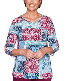 Autumn Harvest Patchwork-Print Top