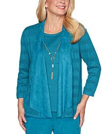 Walnut Layered-Look Draped Necklace Sweater