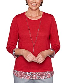 Petite Layered-Look Well Red Top