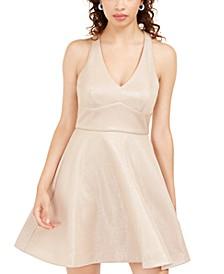 Juniors' Allover-Glitter Fit & Flare Dress