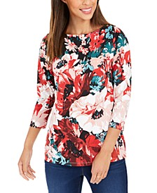 Floral-Print Boat-Neck Top, Created for Macy's