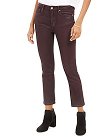 Burgundy Coated Straight-Leg Jeans
