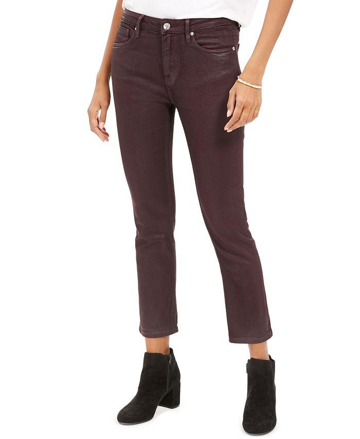 Vigoss Jeans - Burgundy Coated Straight-Leg Jeans