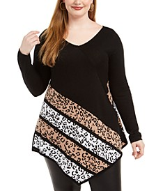 Plus Size Point-Hem Animal-Print Sweater