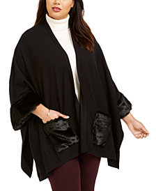 Belldini Plus Size Faux Fur Cape Jacket