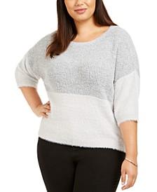 Plus Size Contrast-Knit Sweater
