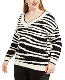 Plus Size Zebra-Print Eyelash Sweater