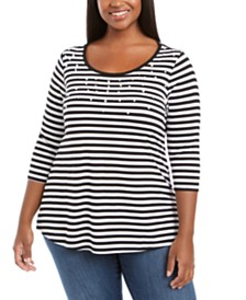 Belldini Plus Size Striped Beaded Top