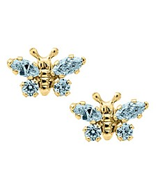 Children's Birthday Cubic Zirconia Butterfly Earrings in 14k Yellow Gold
