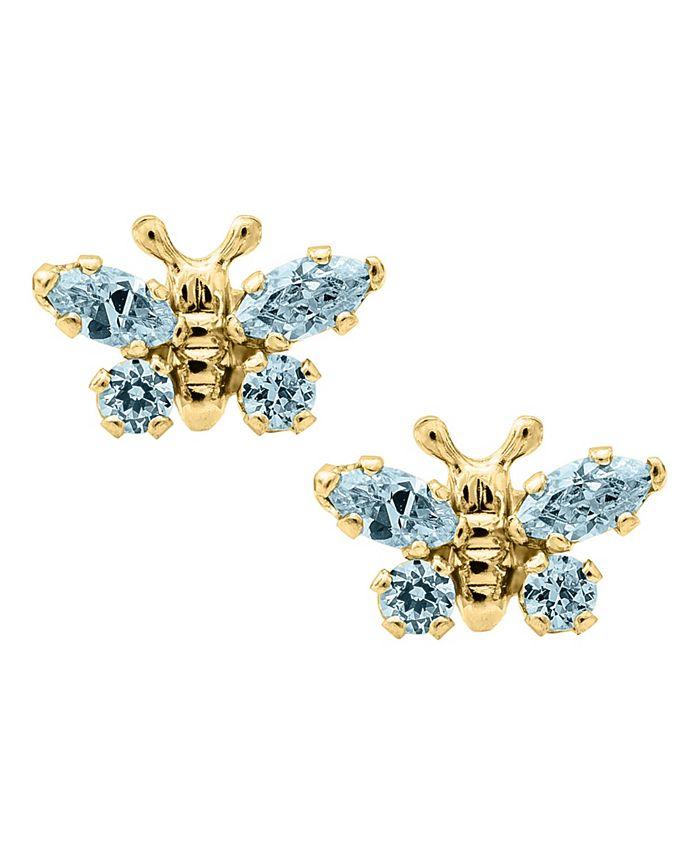 Macy's - Children's Birthday Cubic Zirconia Butterfly Earrings in 14k Yellow Gold