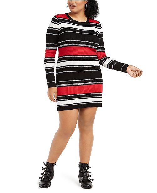 Derek Heart Trendy Plus Size Striped Bodycon Dress