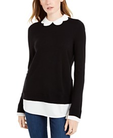 Maison Jules Scalloped-Neck Layered-Look Sweater, Created For Macy's
