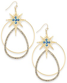 Gold-Tone Crystal Star Mobile Hoop Drop Earrings, Created For Macy's