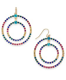 Gold-Tone Multicolor Crystal Double Circle Drop Hoop Earrings, Created For Macy's