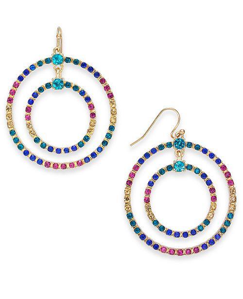 Thalia Sodi Gold-Tone Multicolor Crystal Double Circle Drop Hoop Earrings, Created For Macy's