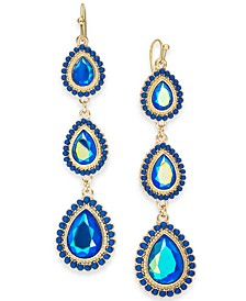 Gold-Tone Stone Triple Drop Earrings, Created For Macy's