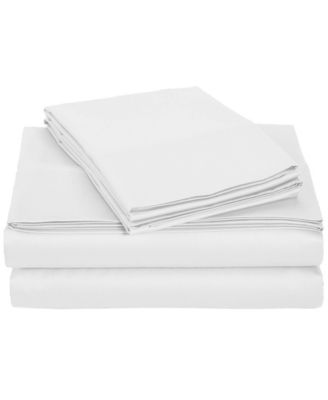 University 4 Piece White Solid Twin Xl Sheet Set