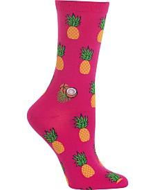 Hot Sox Women's Pineapples Crew Socks