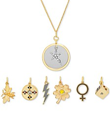 "Gold-Tone 8-Pc. Gift Set Pavé Charm Interchangeable Pendant Necklace, 16"" + 3"" extender"
